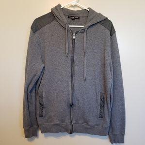 Michael Kors gray zip hooded sweater elbow patch